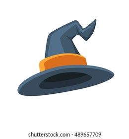 Halloween traditional witch hat with strap in cartoon and flat style isolated on white background. Vector illustration.