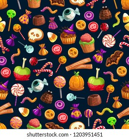 Halloween treats vector seamless pattern of candies and sweets, cupcakes and jellies or lollipops. Sweet brain and worm, skull and cane, bat and eyeball, witch hat and spider, net and pumpkin