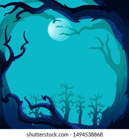 halloween tree background vector. Spooky forest with full moon and floor. Without leaves and branches of autumn. Design for the Halloween season. Vector illustration isolated on a white background.