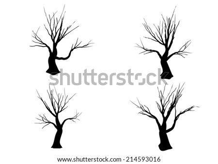 halloween tree silhouette isolated on white background waving