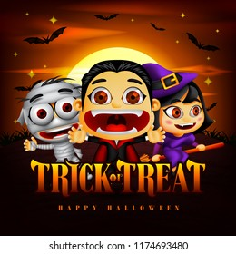 Halloween Trick or Treat Background with Funny Dracula, Mummy and Witch Character in the Midnight Illustration. Vector