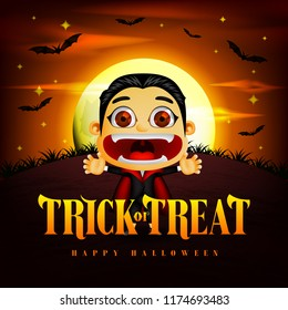 Halloween Trick or Treat Background and Funny Dracula Character in the Midnight with Flying Bats. Vector