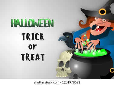 Halloween Trick or treat banner with happy toothless witch with red curly hair making potion on gray background. Realistic lettering can be used for invitations, signs, announcements