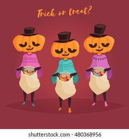 Halloween. Trick or treat card. Pumpkin. Vector illustration. Cartoon character. Isolated.