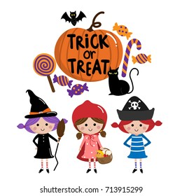 halloween, trick or treat kids