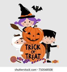 Halloween, trick or treat, kids and pumpkin vector
