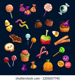 Halloween Trick or Treat party scary candy sweets and lollipops. Vector eye, gingerbread skull or monster and witch hat cake, jellybean with pumpkin or bat chocolate cookie