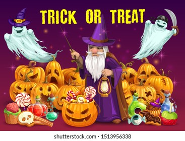 Halloween trick or treat party vector design. Horror pumpkins, candies and ghosts with witch hat, pirate bandana and knife, evil wizard, magic wand and potion, bats, zombie brain and eyeball cookies
