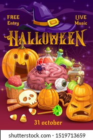 Halloween trick or treat pumpkins with candies, witch hat and potion bottles, horror night party vector invitation. Cakes and cookies with spiders, bats and skeleton skulls, eyeball and zombie brain