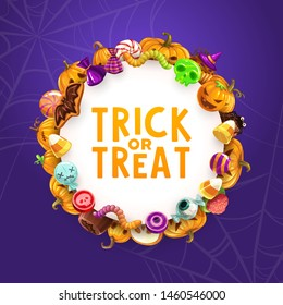 Halloween trick or treat sweets and pumpkins vector greeting card. Horror holiday candies, chocolate and cakes, lollipops, cookies and jellies in shape of skull, ghost and bat, zombie brain, eyeball