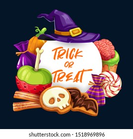 Halloween trick or treat sweets vector design. Pumpkins and witch hat with chocolate candies, jelly strips and lollipops, decorated with sugar bats, skeleton skulls and zombie brain, greeting card