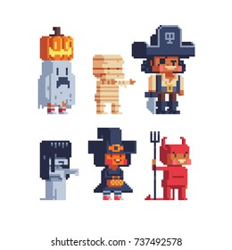 Halloween trick or treating costume kids. Pixel art characters set. Isolated vector illustration.