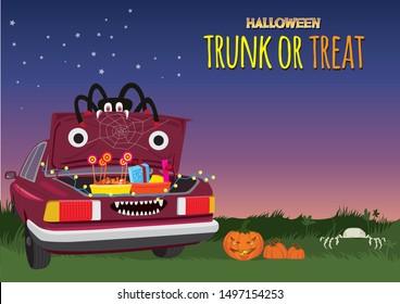 Halloween Trunk or Treat illustration graphic vector