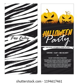 Halloween two sides, Banners Party . Vector Illustration.Place for your text. grunge style. black and white