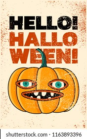 Halloween typographical vintage grunge style poster. Retro vector illustration.