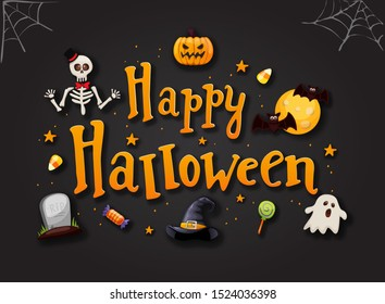 Halloween typography with icons . Vector