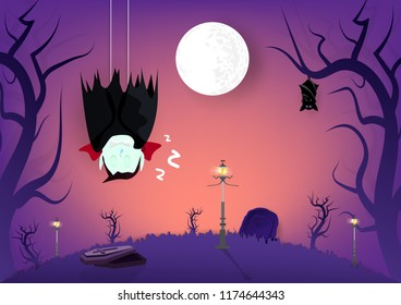 Halloween, vampire and bats sleeping in graveyard dark forest cartoon puppet characters, invitation poster card abstract background vector illustration