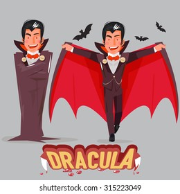 Halloween vampire character design with typographic treatment of word Dracula. vector illustration