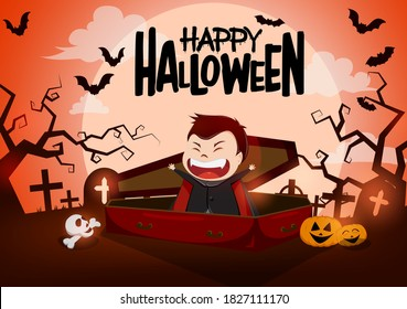 Halloween vampire character vector background design. Happy halloween text with funny vampire character in casket and scary cemetery background for horror trick or treat design. Vector illustration
