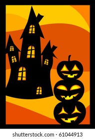 Halloween vector background with scary pumpkin lanterns and house
