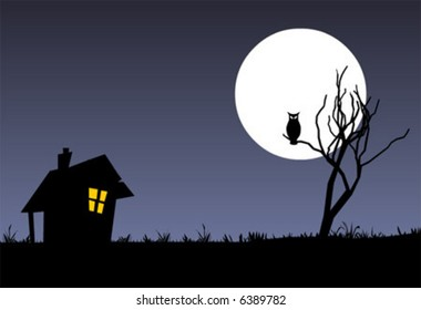 Halloween vector background with a tree, witch house, moon and an owl