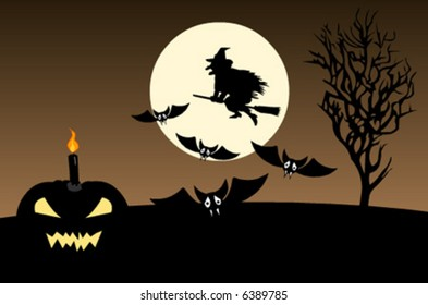 Halloween vector background with a tree, witch, moon, pumpkin, bat and an owl