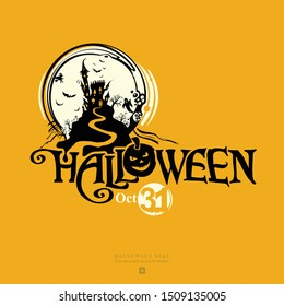 Halloween vector banner. Halloween lettering composition with a ghost house, for poster, card, party invitation.