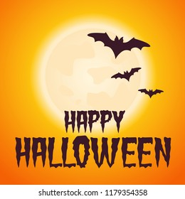 Halloween vector banner poster illustration with moon and bats
