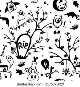 Halloween vector black and white  seamless pattern with owls, ghosts, bats, spiders, skulls and trees. Can be used as colouring seamless page for children