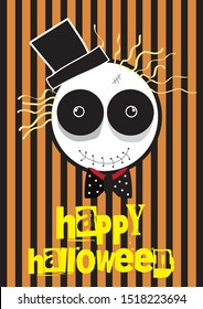 Halloween vector card design, zombie cartoon, vector, banner, poster, cute design.