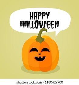 Halloween vector cartoon banner poster card illustration with funny pumpkin.