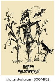 Halloween vector collection. Hand drawn illustration. Line art. Doodle. Scarecrow