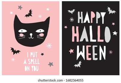 Halloween Vector Decoration for Little Kids. I Put a Spell on You. Hand Drawn Illustration with Black Cat and Flying Bats Isolated on a Pink Background. Handwritten Happy Halloween.