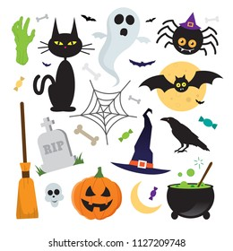 Halloween vector elements icons set on white background