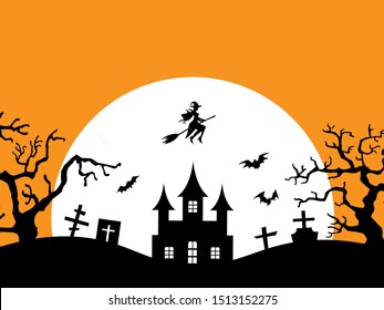 Halloween vector female witch flying on her broomstick pass the black castle with horror graveyard and spooky tree in full moon night.illustration vector for halloween celebration in october