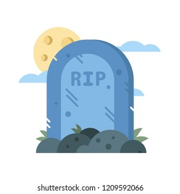 Halloween vector flat illustration of creepy gravestone and full moon background.