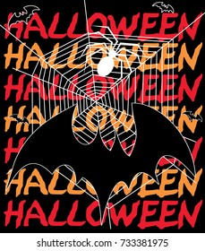 Halloween vector graphic and lettering with bats for shirt, cap, banner, poster, greeting card, party invitation. Isolated illustration.