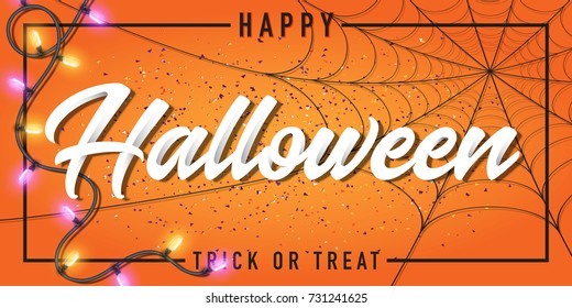 Halloween vector greeting card and poster design with spider web and light.
