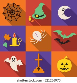 Halloween vector icons set in a flat design with long shadow  . Pumpkin head,  halloween hat, bat,  ghost . Cartoon halloween icons set, halloween silhouette for halloween party.