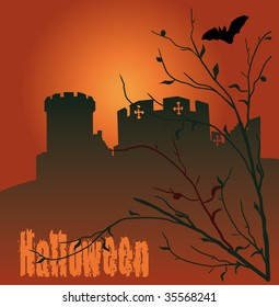 Halloween vector illustration with castle