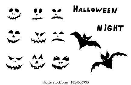 Halloween vector illustration. Collection of hand drawn scary faces isolated on white background. Spooky character for banner, poster, invitation or festive decoration