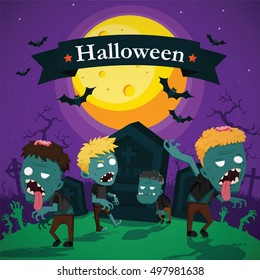 Halloween vector illustration - Dead Man's from the ground with invitation to zombie party