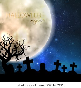 Halloween vector illustration with full moon and cemetery on the night sky background. party flyer design