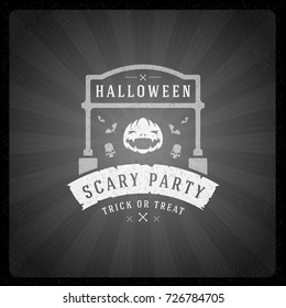 Halloween vector illustration on movie ending screen style background.