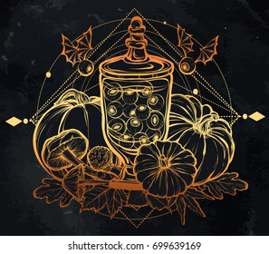 Halloween. Vector illustration. Potions, mushrooms, pumpkin. Handmade, prints on T-shirts, background chalkboard, tattoos, gold color