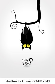"Halloween vector illustration representing just a funny bat upside down from a swirly branch. Black silhouettes on white background. Typography says ""Trick or treat?"""