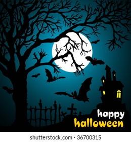 Halloween vector illustration scene, with  moon, bat and tree.