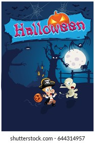 Halloween vector illustration with two running kids afraid of darkness, pumpkin