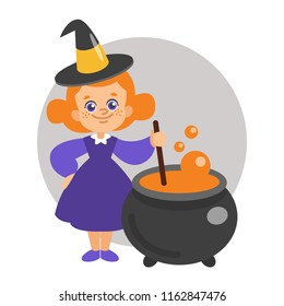 Halloween vector illustration of young witch girl boiingl a potion in a cauldron. Isolated on white.