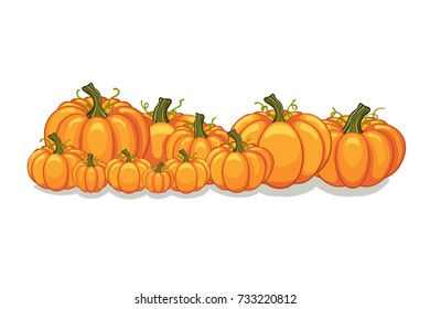 Halloween vector orange pumpkins graphic. Horizontal banner design template for e-commerce market, web site banners or thanksgiving day backgrounds. Vector pile of orange pumpkins frame border patch.